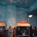 Franklin-Institute-aircraft-room-sky-cloud-murals-by-Paul-Barker