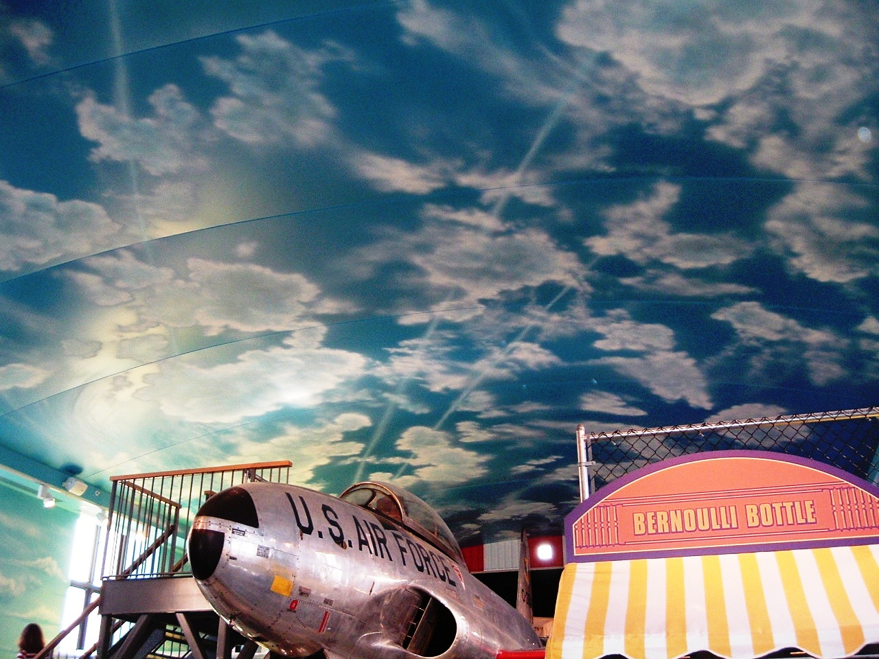 Franklin-Institute-aircraft-room-sky-murals-by-Paul-Barker