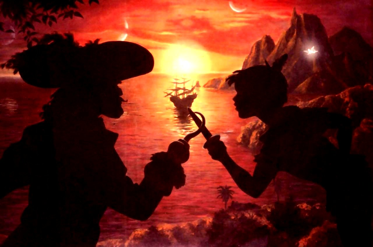 Children's mural of Captain Hook dueling with Peter Pan by Paul Barker