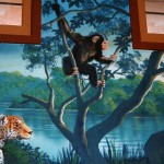 Chimpanzee painted by muralist Paul Barker for Henry Vilas Zoo Visitor Center