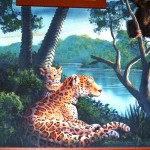 Tiger mother and cub painted by muralist Paul Barker for Henry Vilas Zoo Visitor Center