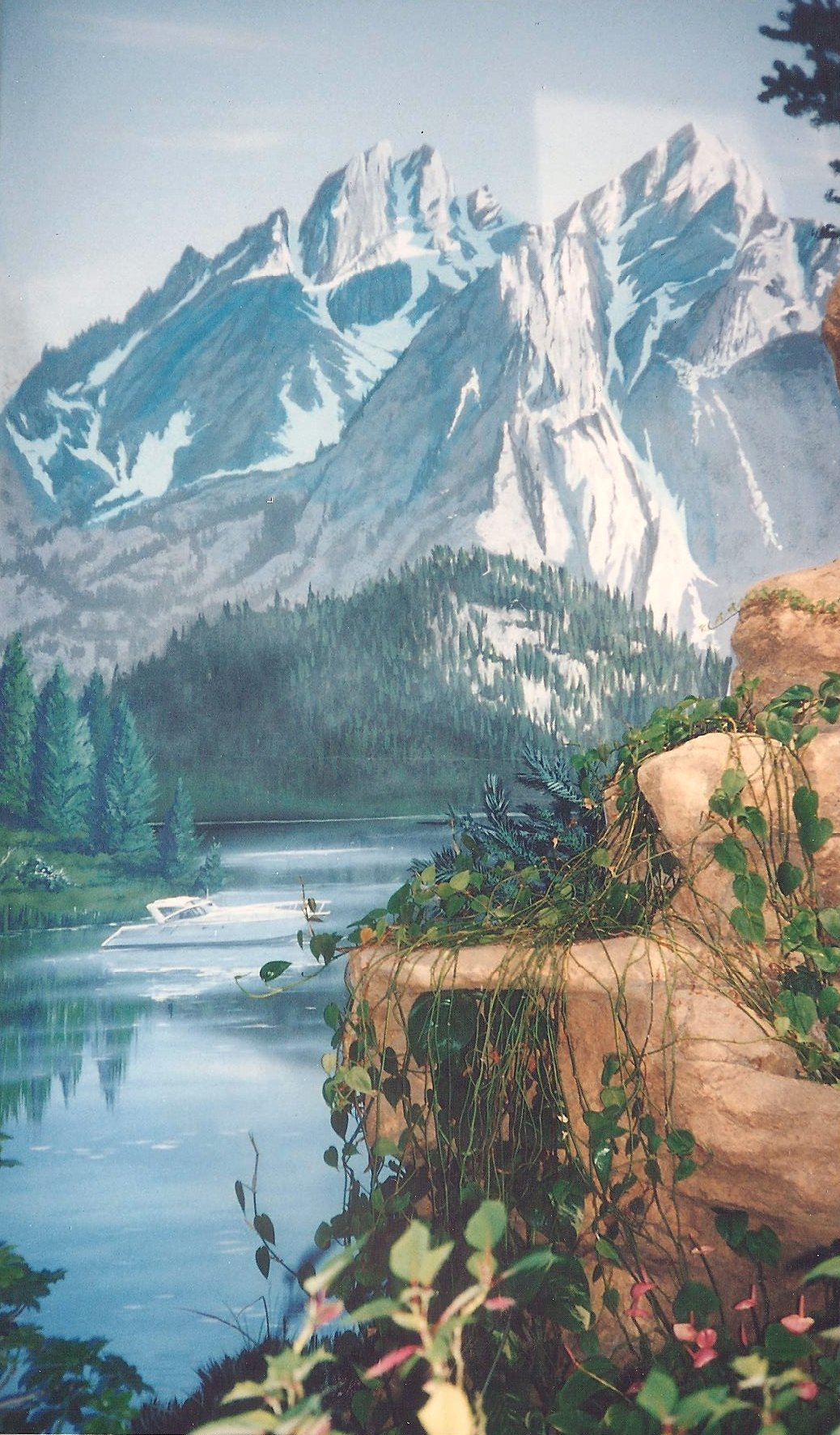 Residential bathroom mural of mountain lake by Paul Barker of Googleplex