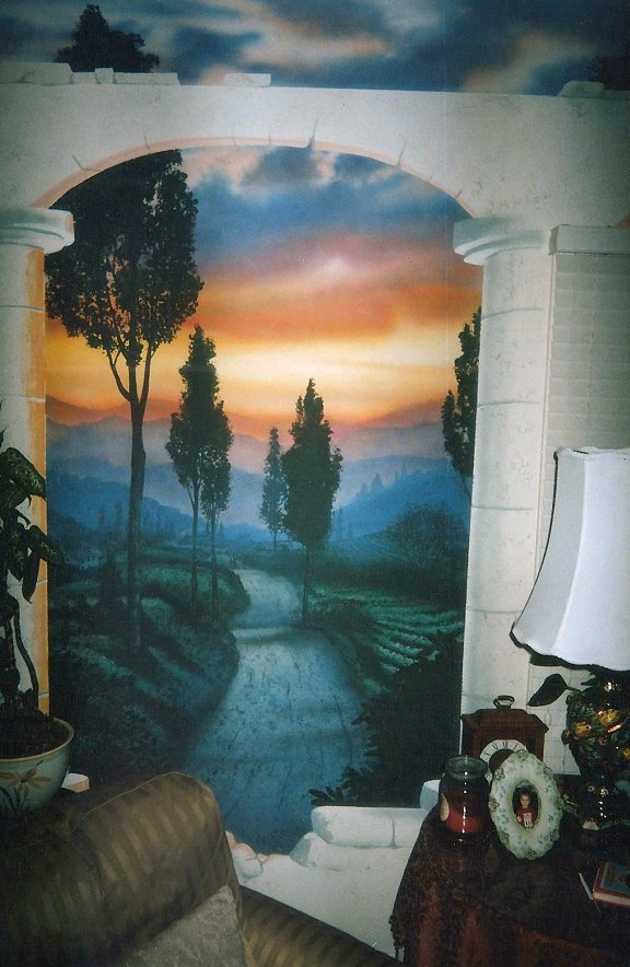 Residential-mural-Tuscany-sunset-Paul-Barker