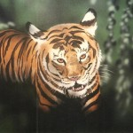 Tiger painted by muralist Paul Barker for Rainforest Cafe