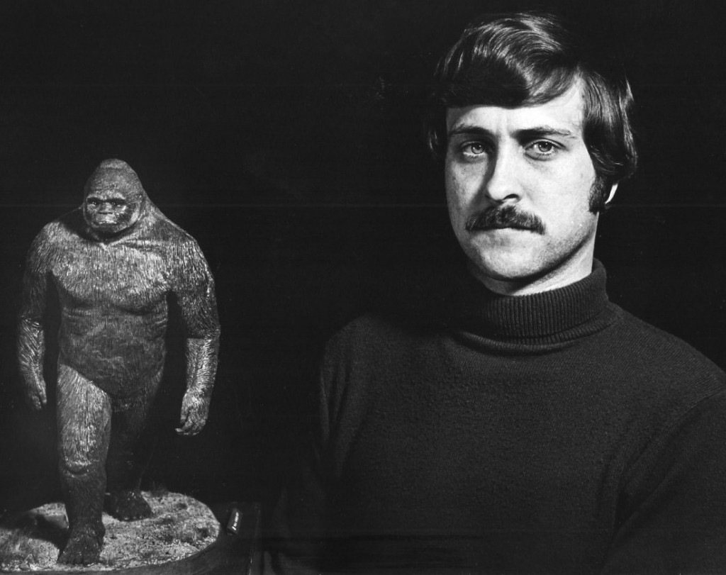 Paul-Barker-with-his-plasticene-statue-of-Bigfoot-Sasquatch
