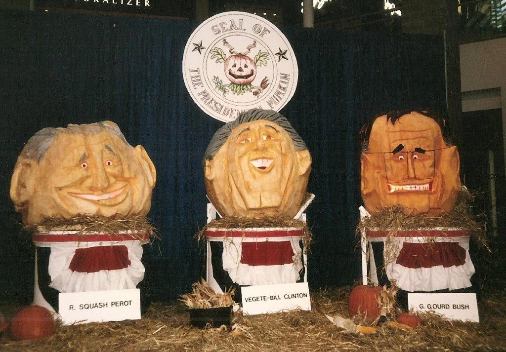 Pumpkins carved to look like Ross Perot, Bill Clinton and George H W Bush during 1992 election by Paul Barker