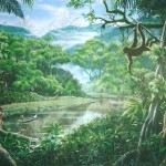 Rainforest-mural-monkey-natives-Paul-Barker