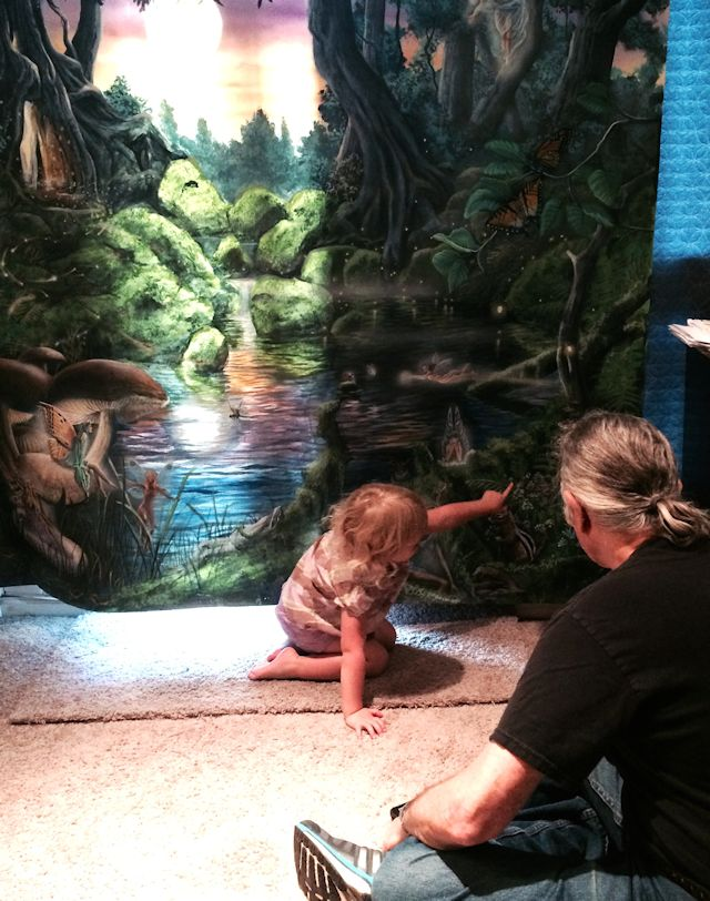 Paul Barker and Client with Her Fairy Mural 640w