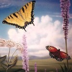 Butterflies painted by muralist Paul Barker for Peggy Notebaert Museum Chicago