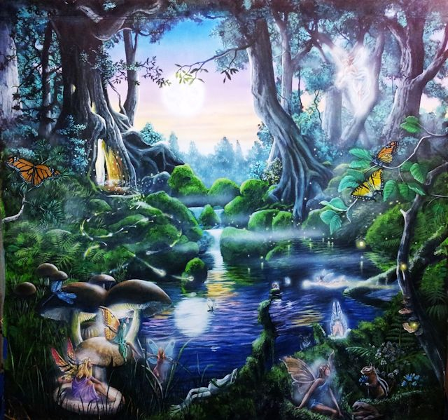 Woodland fairies and animals by a pond at night, painted by Chicago muralist Paul Barker